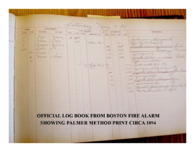 Official Log Book from Boston Fire Alarm using Palmer Method Print Circa 1894
