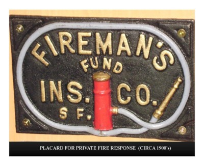 Placard for Private Fire Response (circa 1900s)