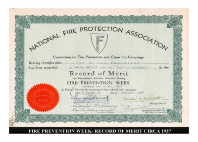 Fire Prevention Week - Record of Merit (circa 1937)