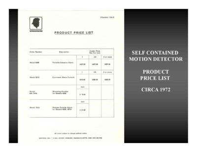 Self Contained Motion Detector Price List (circa 1972)