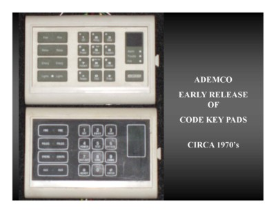 Ademco Early Release of Code Key Pads (circa 1970s)